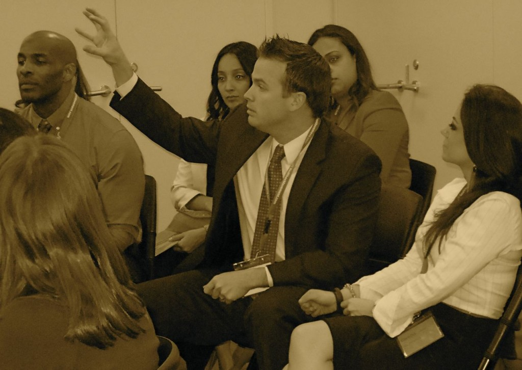 Invite male colleagues to be part of your women initiatives. Keep in mind the societal norms that affect them. Featured here, participants at a RSM Signature Event at McGraw Hill Financial.