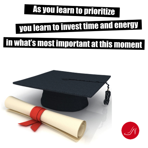 Going Back to School As an Adult: As you learn to prioritize you learn to invest time and energy in what's important at this moment