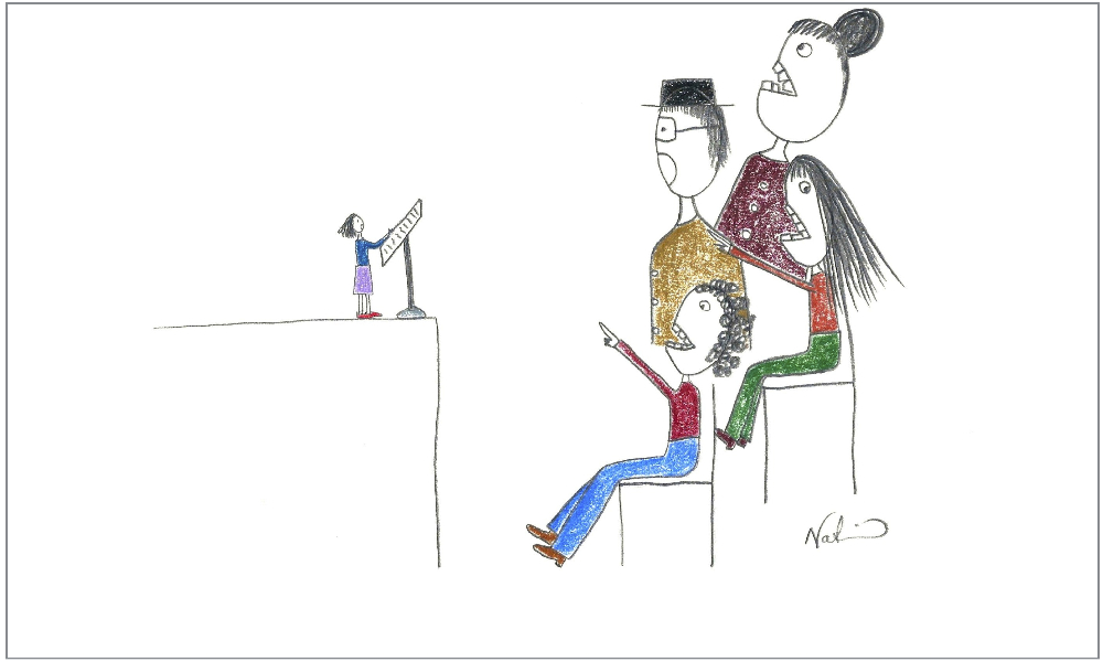 Fear of public speaking illustration - Tiny speaker in front of group of oversized people