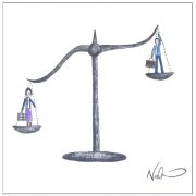 Sexism cartoon - Scale with man and woman by Natchie