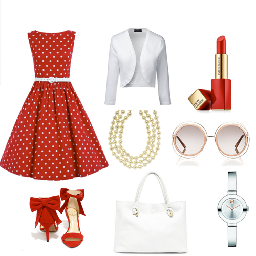 Business Casual dress code, clothes and accesories in red and white