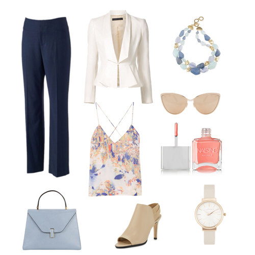 Business Casual attire with blue pant and white jacket