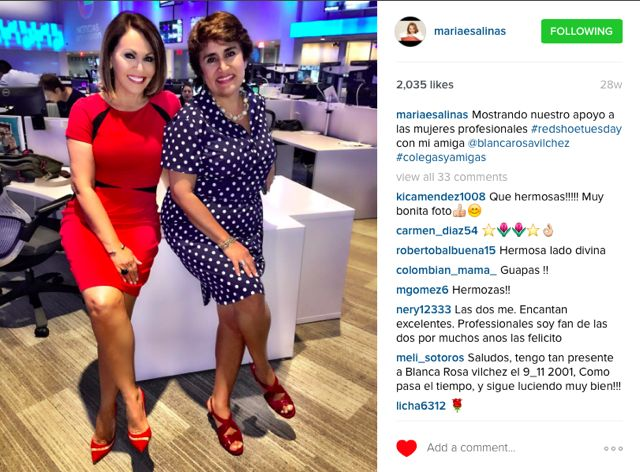 Renowned journalists Maria Elena Salinas and Blanca Rosa Vilchez support #RedShoeTuesday