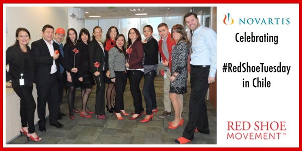 Novartis Chile celebrating Red Shoe Tuesday