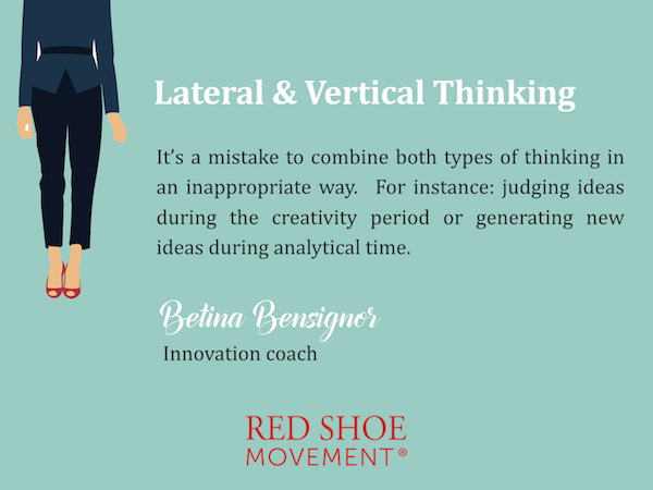 In a first stage the focus should be on producing lots of new ideas. In a second, you analyze which can be put into practice. You have to know when to use lateral and vertical thinking.