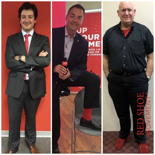 Men who support women to the top show their support in many ways. For starters, they support #RedShoeTuesday. From Left to Right: Francisco Rozo, Novartis; Dino Troni, Coca-Cola; Miguel Alemany, P&G