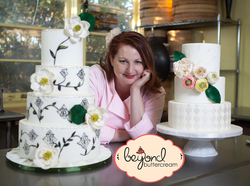 Jennifer Bratko owner of Beyond Buttercream with two of her wonderful and delicious creations!