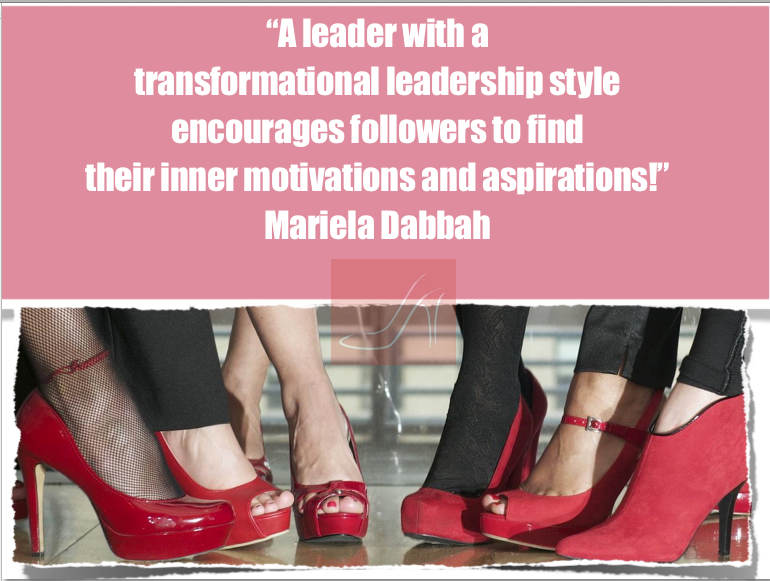 A leader with a transformational leadership style encourages followers to find their inner motivations and aspirations