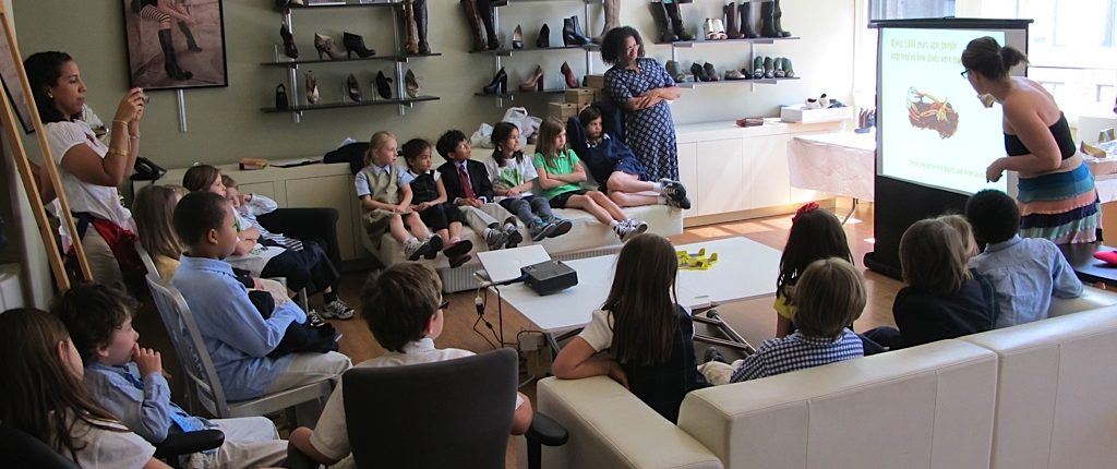 When you follow unusual career paths you get to experience wonderful things. Like hosting third graders in your office. Here's Faryl Robin, the footwear industry designer, doing just that.