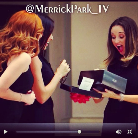 One of the main Merrick Park characters receives a gift: A pair of red shoes!