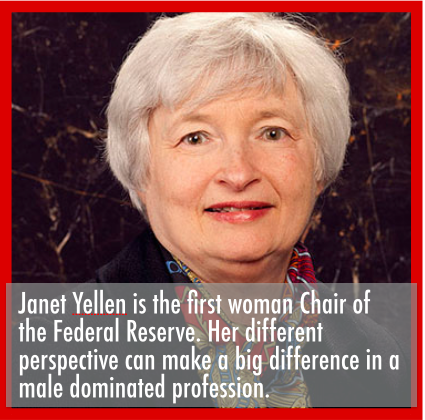Janet Yellen, Chair of the Federal Reserve | Career growth opportunities for women in male-dominated professions