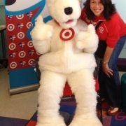 Cosette Gutierrez with Target's mascot