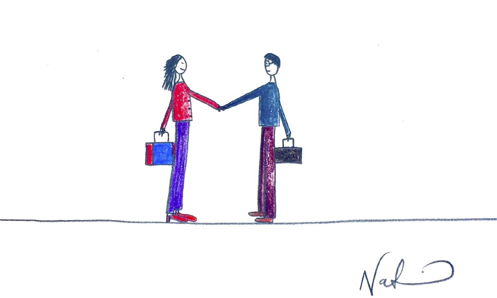 Woman and Man shaking hands cartoon by Natchie
