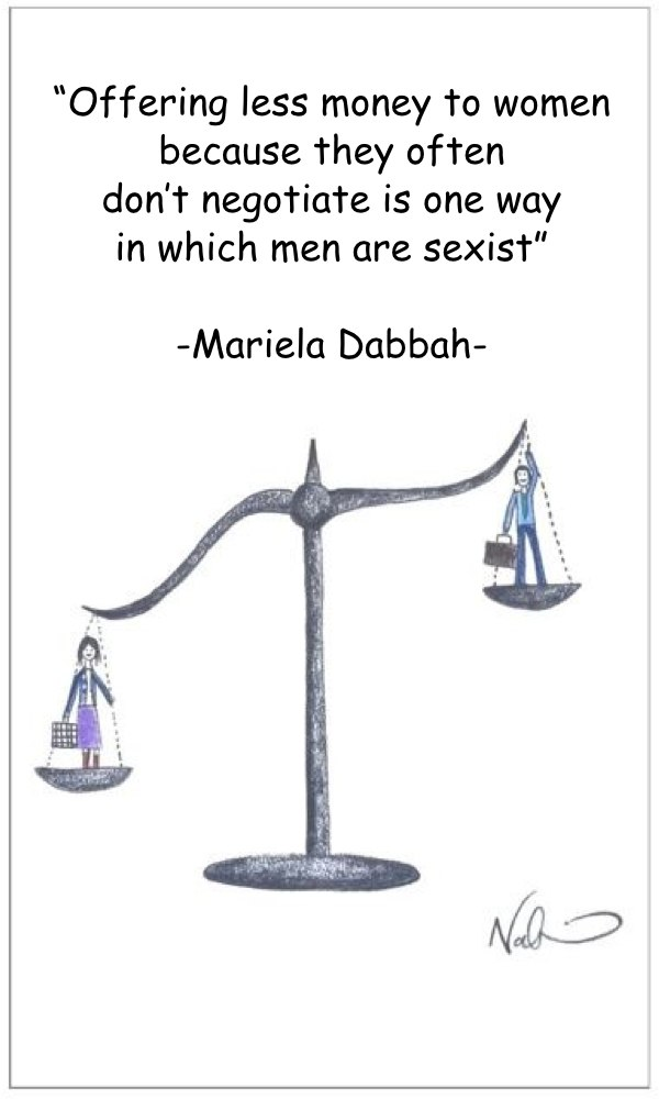 Cartoon of sexism with men and women in a scale by Natchie -