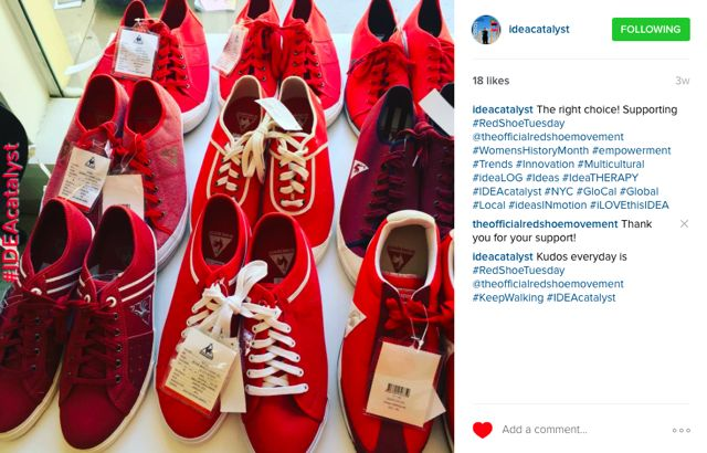 Idea Catalyst supports the meaning of red shoes for the Red Shoe Movement