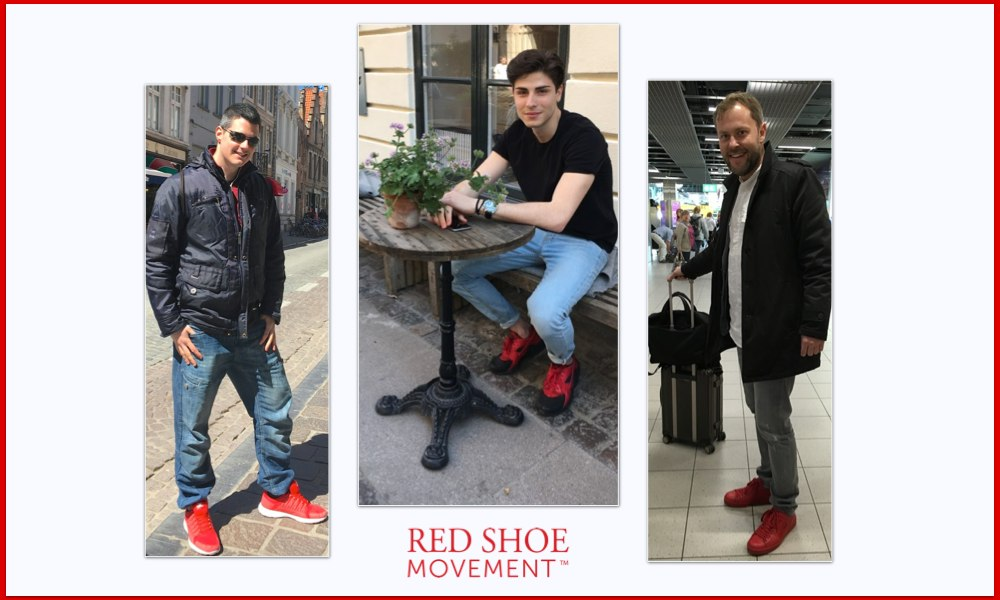 Men wear red shoes to show support for career growth of women