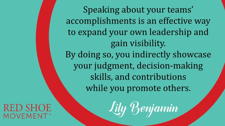 Part of mastering the art of self-promotion is to learn to include the contributions of others as you naturally weave-in yours in a conversation.