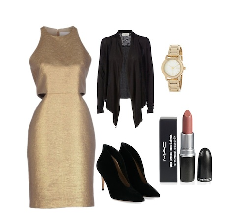 Sometimes, it is good to break the mold with your work wardrobe. Just like I did with this great looking gold dress. Photo: polyvore.com/pilitapia