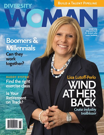 Lisa Lutoff-Perlo, Hall of Fame 2017 graces the cover of Diversity Woman, the publication of a Hall of Fame 2018 honoree.