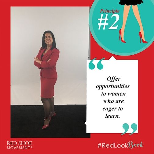 Beth Marmolejos strikes a pose at the #RedLookBook