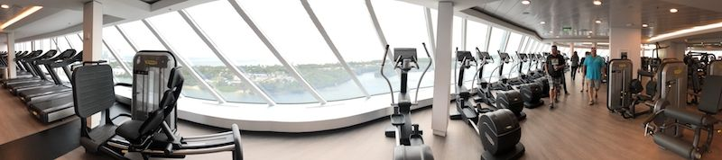 A deliberate focus on facing the sea includes the Gym's equipment.