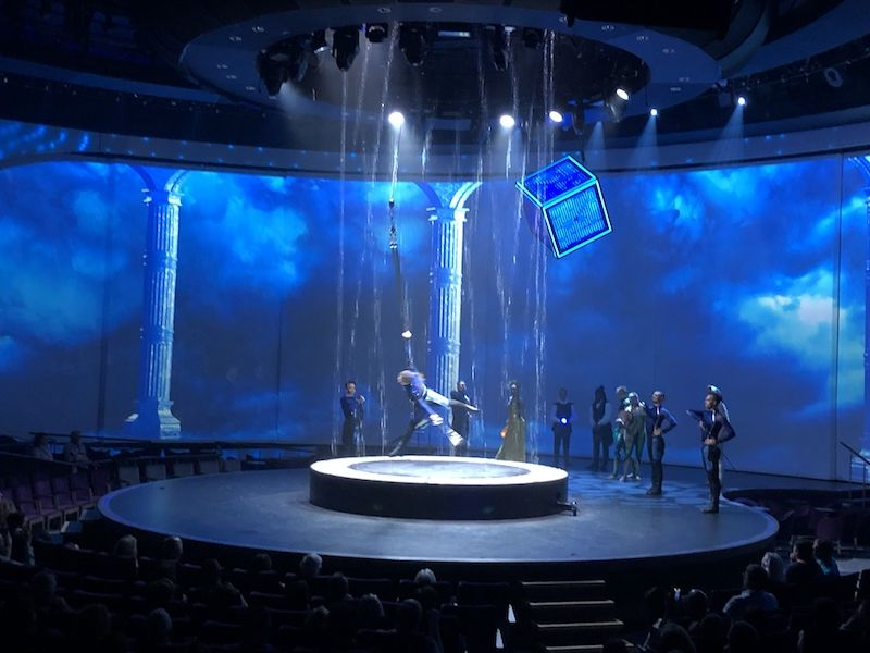 The circular theater on Celebrity Edge offers top innovations in technology like the rain curtain.