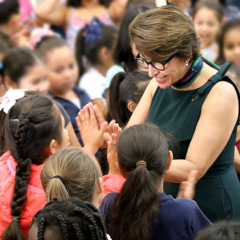 Sylvia Acevedo visiting school