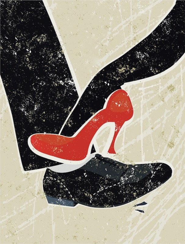A perfect example of unconscious bias in action. What do you see when you see this pic? Here's the description used by iStockphoto where both the publisher of the article discussed here and the Red Shoe Movement purchased it: A stylized vector cartoon of a Man and woman's feet playing footsie, the style is reminiscent of an old screen print poster. Suggesting Romance, flirtation, love, attraction, seduction or temptation.