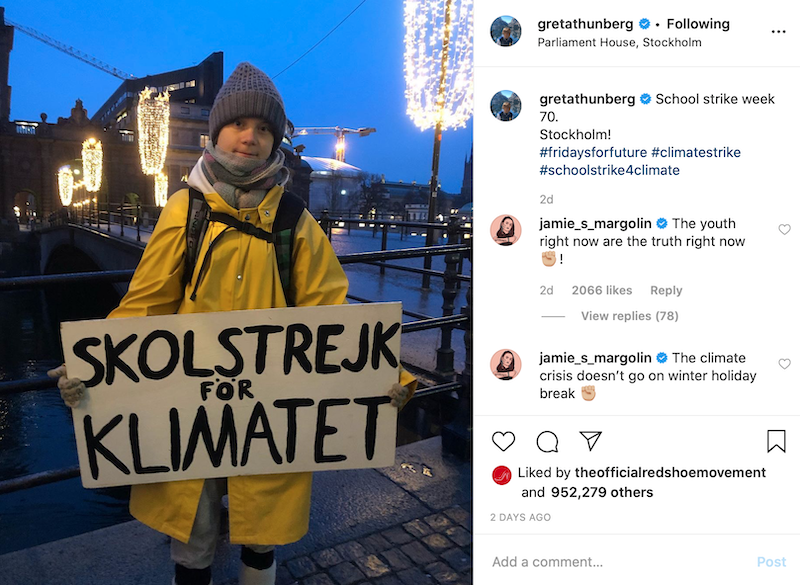 Greta Thunberg striking for climate change- Post from her Instagram account