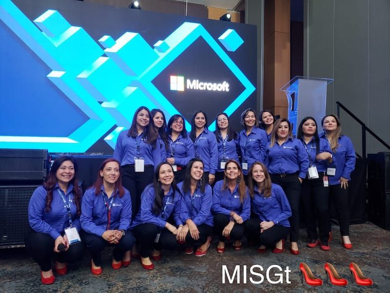 Microsoft women with red shoes